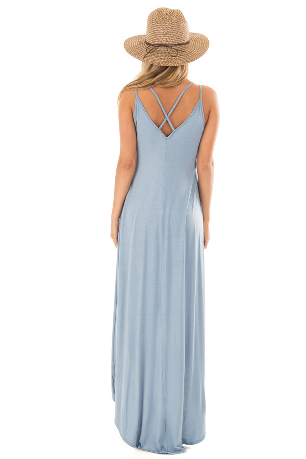 Dusty Blue High Low Dress with Criss Cross Strap Back back full body