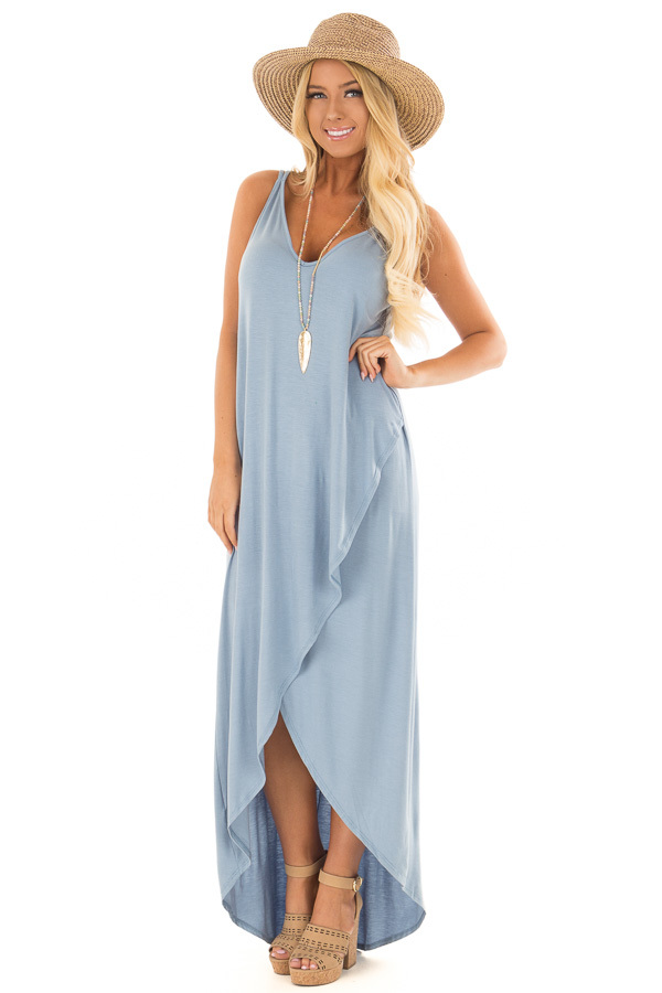 Dusty Blue High Low Dress with Criss Cross Strap Back front full body