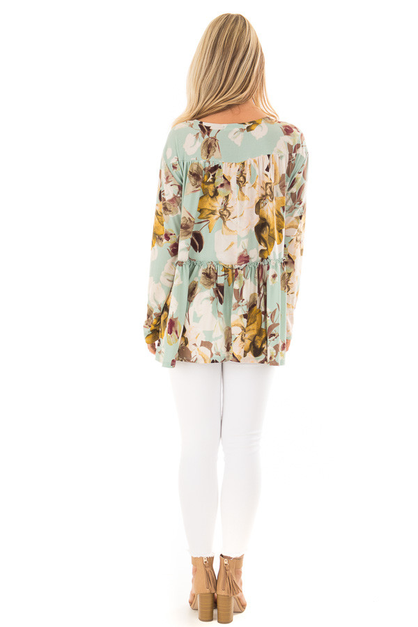 Sage Floral V Neck Top with Ruffle Detail back full body
