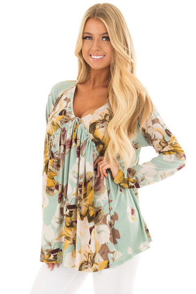 Sage Floral V Neck Top with Ruffle Detail front closeup
