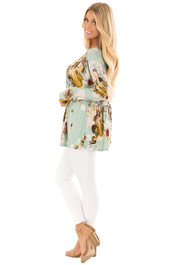Sage Floral V Neck Top with Ruffle Detail side full body
