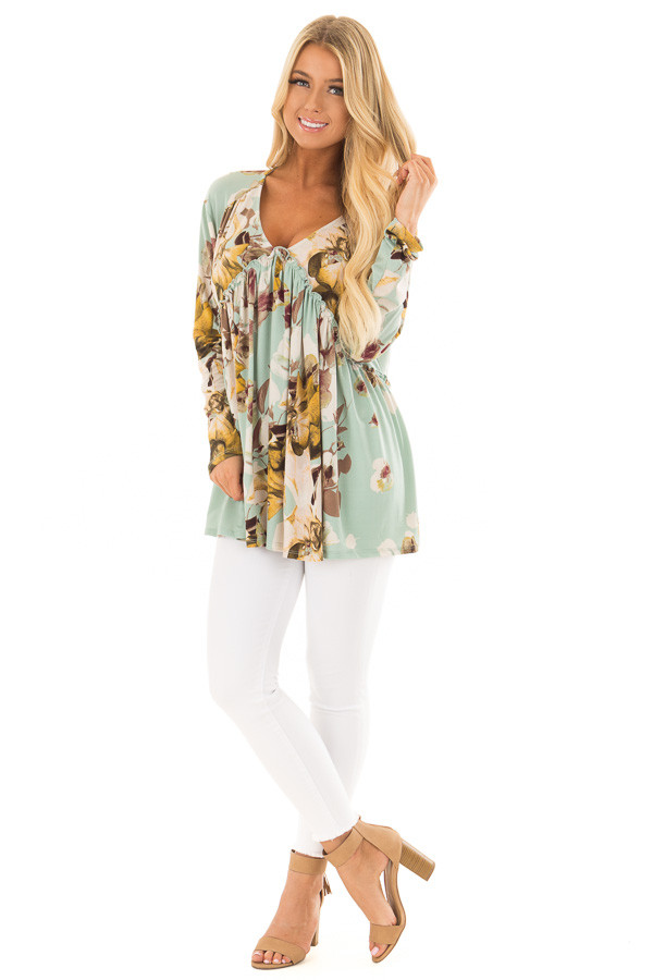 Sage Floral V Neck Top with Ruffle Detail front full body