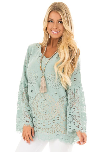 Dusty Mint Semi Sheer Lace Top with Long Bell Sleeves front closeup
