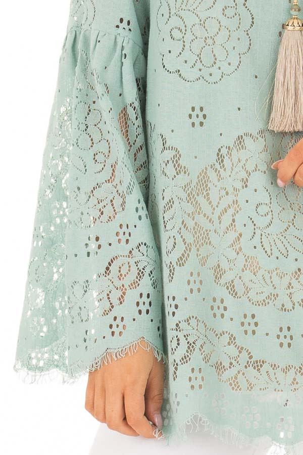 Dusty Mint Semi Sheer Lace Top with Long Bell Sleeves front detail