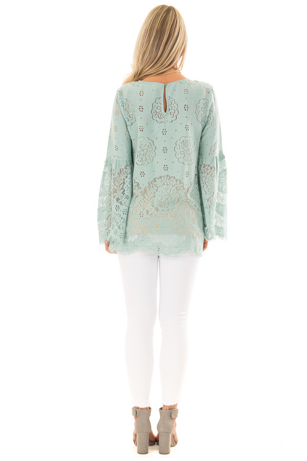Dusty Mint Semi Sheer Lace Top with Long Bell Sleeves back full body