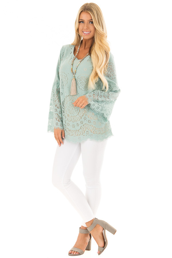 Dusty Mint Semi Sheer Lace Top with Long Bell Sleeves front full body