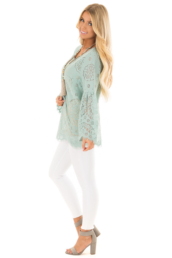 Dusty Mint Semi Sheer Lace Top with Long Bell Sleeves side full body