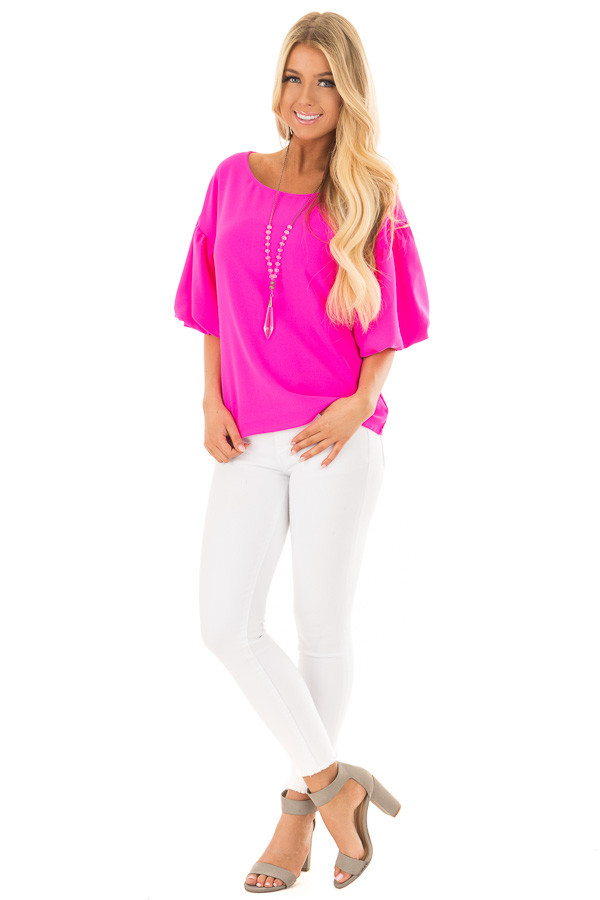 Neon Pink Blouse with Bubble Sleeves front full body