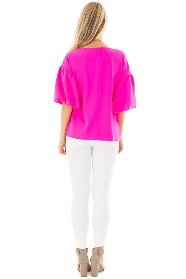 Neon Pink Blouse with Bubble Sleeves back full body