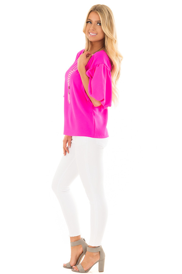 Neon Pink Blouse with Bubble Sleeves side full body