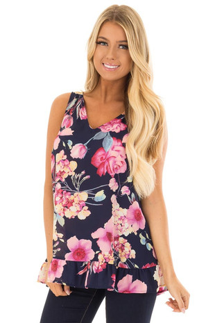 Navy Floral Print Sleeveless Blouse with V Neck front closeup