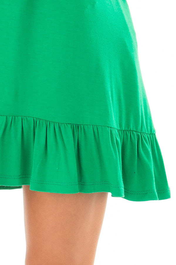 Kelly Green Short Sleeve Tunic with Ruffle Hem front detail