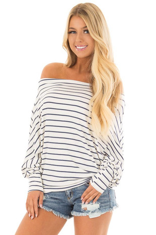 Navy and White Striped Off Shoulder Top with Dolman Sleeves front closeup