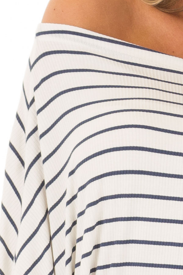 Navy and White Striped Off Shoulder Top with Dolman Sleeves front detail