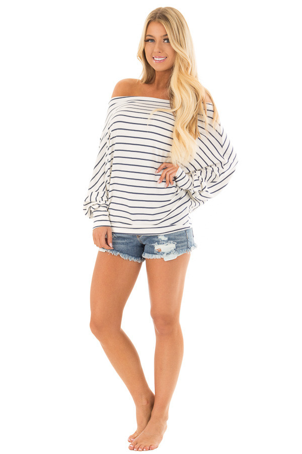 Navy and White Striped Off Shoulder Top with Dolman Sleeves front full body