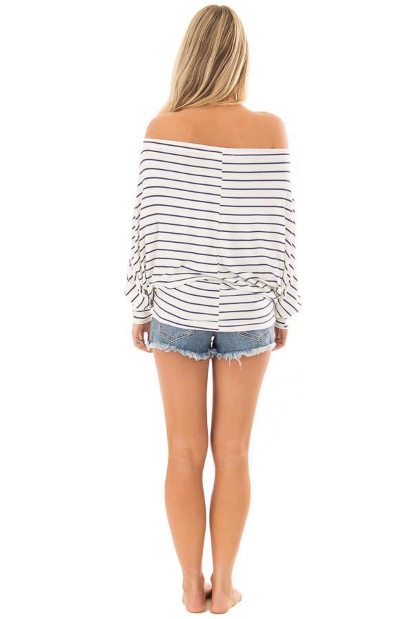 Navy and White Striped Off Shoulder Top with Dolman Sleeves back full body