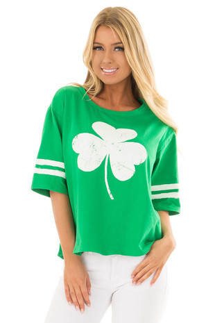 Kelly Green Shamrock Tee Shirt with Stripes on Sleeves front closeup