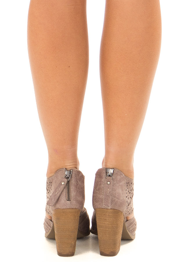 Washed Grey Peep Toe Booties with Cut Out Details back view