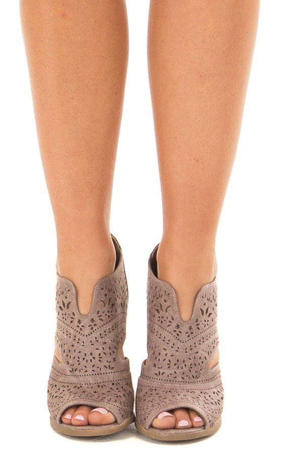 Washed Grey Peep Toe Booties with Cut Out Details front view