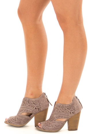 Washed Grey Peep Toe Booties with Cut Out Details side view