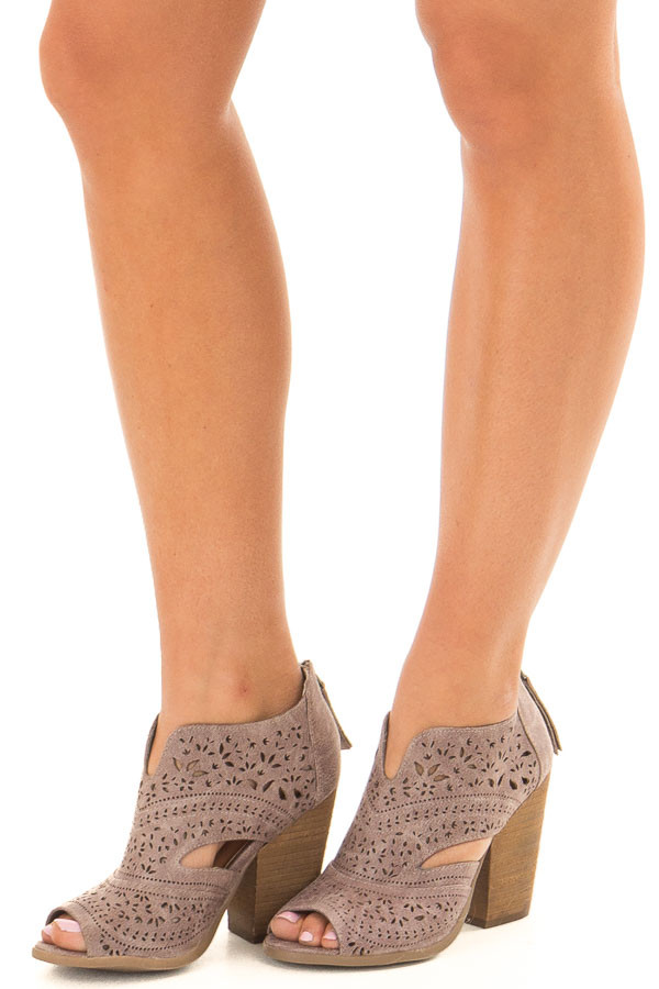 Washed Grey Peep Toe Booties with Cut Out Details front side view