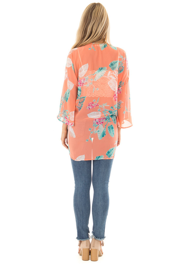 Coral Sheer Kimono with Floral Print back full body