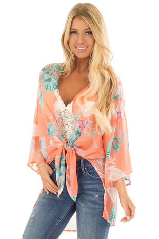 Coral Sheer Kimono with Floral Print front closeup