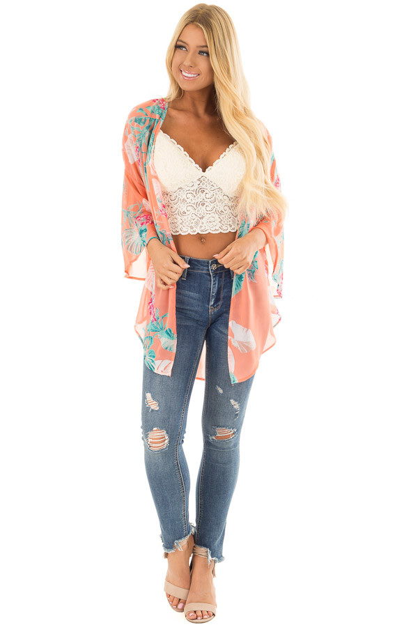 Coral Sheer Kimono with Floral Print front full body