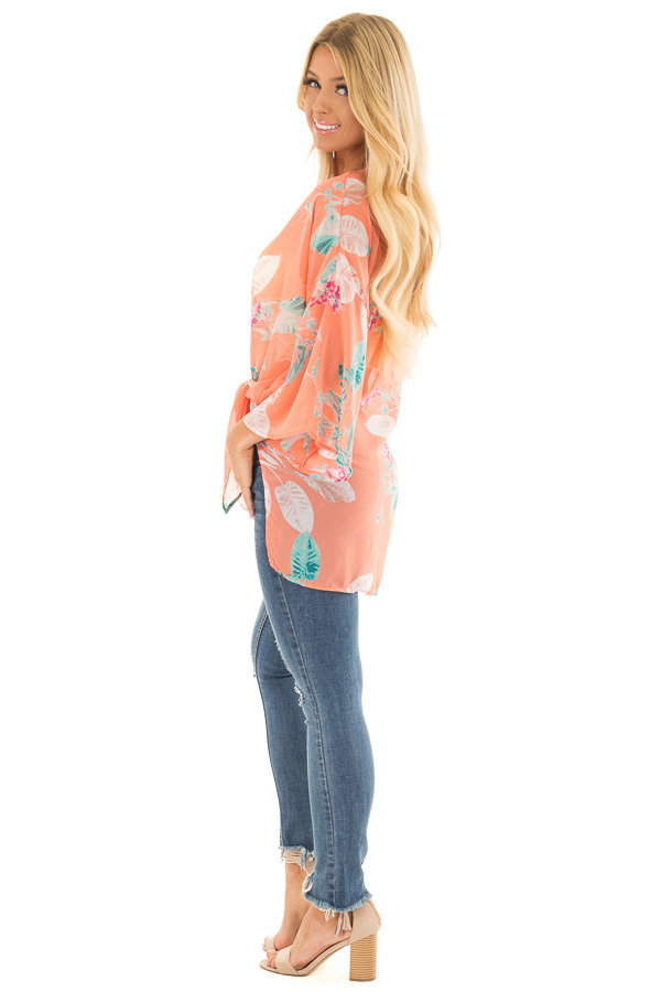 Coral Sheer Kimono with Floral Print side full body
