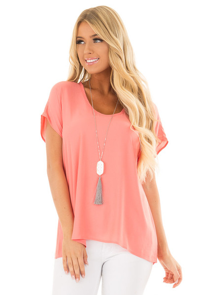 Coral Flowy Top with Scoop Neckline front close up