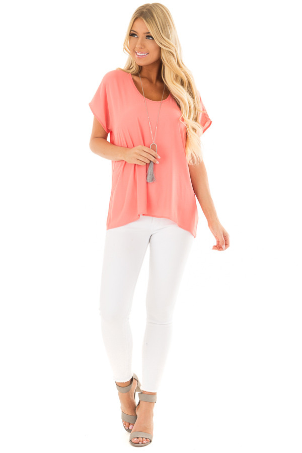 Coral Flowy Top with Scoop Neckline front full body