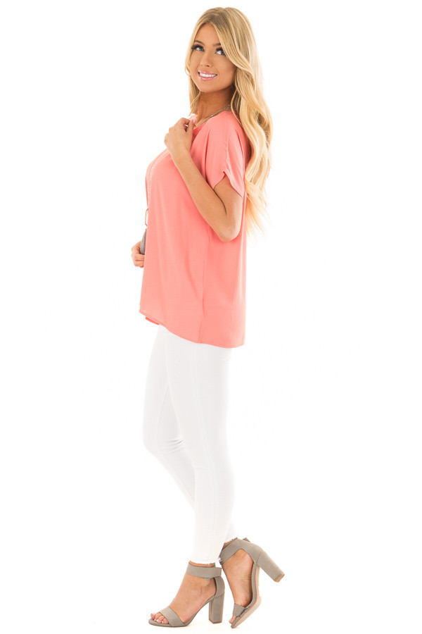 Coral Flowy Top with Scoop Neckline side full body