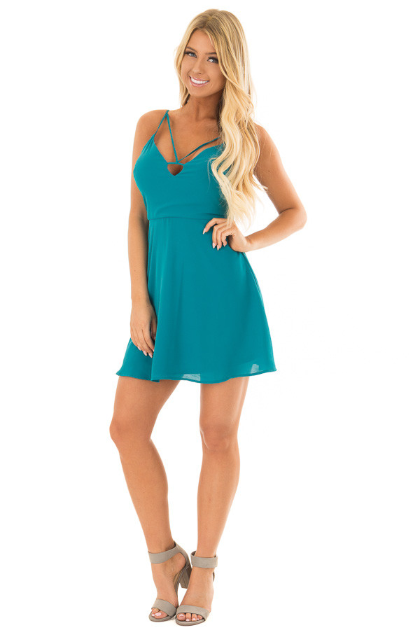Jade Strappy Fit Flare Dress front full body