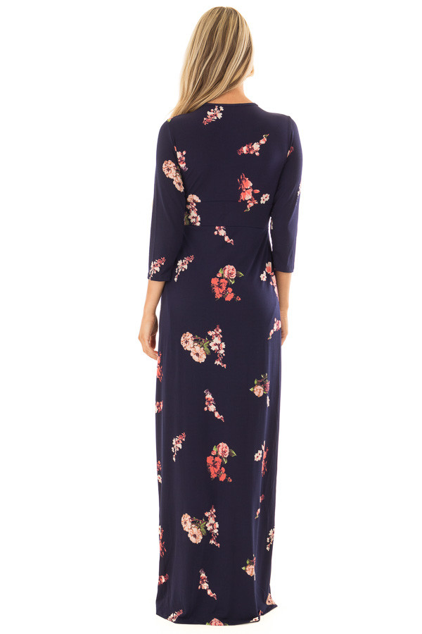 Navy Floral Jersey Maxi Dress with Twist Detail back full body