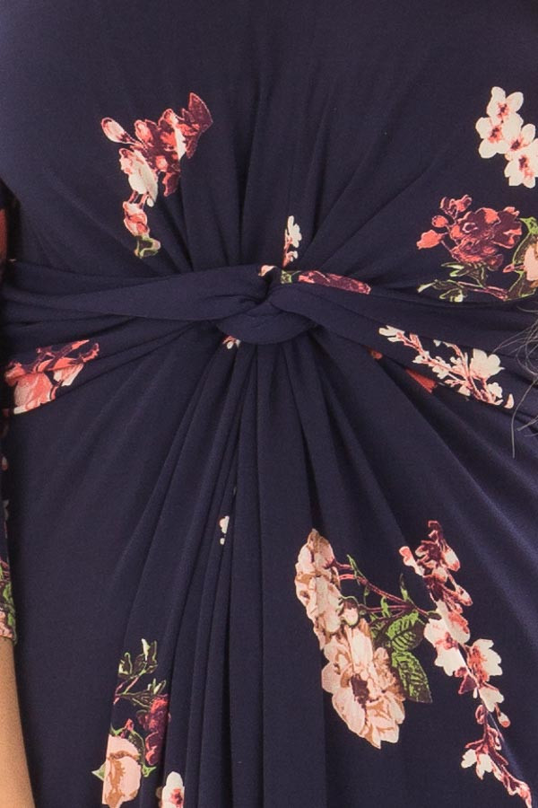 Navy Floral Jersey Maxi Dress with Twist Detail front detail