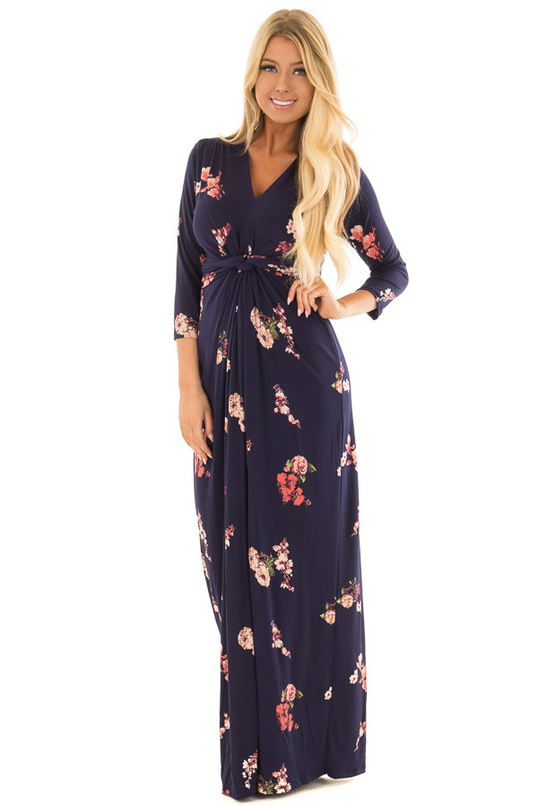 Navy Floral Jersey Maxi Dress with Twist Detail front full body