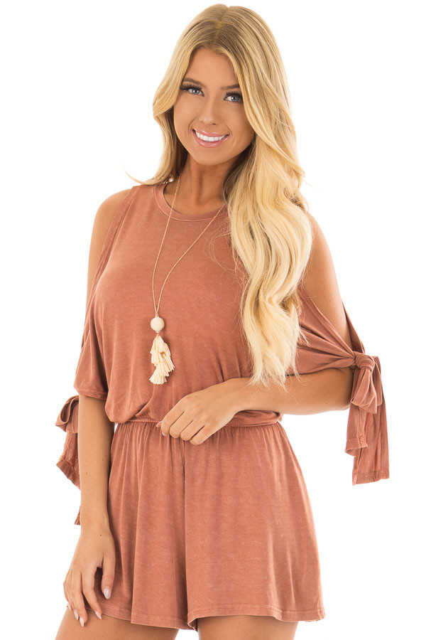 Rust Cold Shoulder Romper with Side Sleeve Tie front closeup