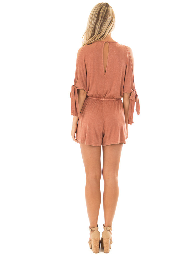 Rust Cold Shoulder Romper with Side Sleeve Tie back full body