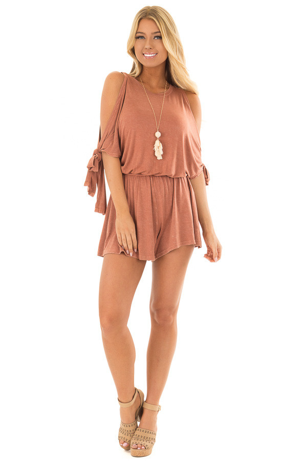 Rust Cold Shoulder Romper with Side Sleeve Tie front full body