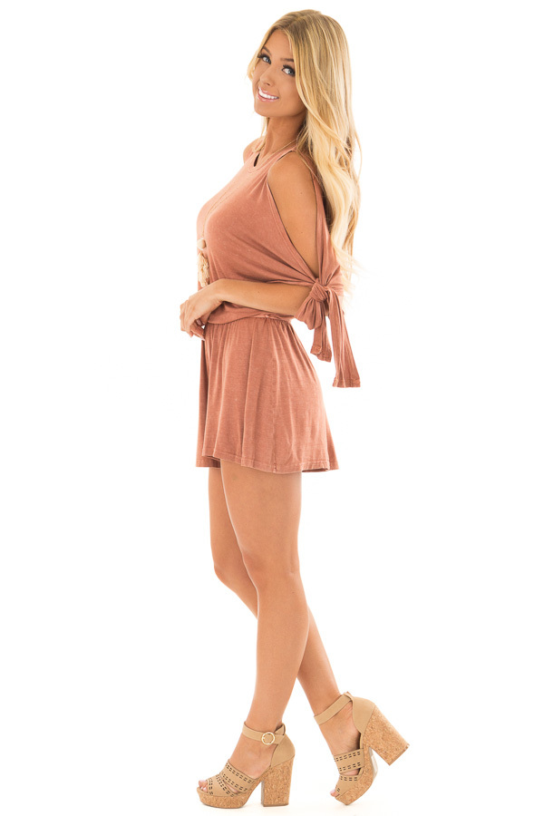 Rust Cold Shoulder Romper with Side Sleeve Tie side full body