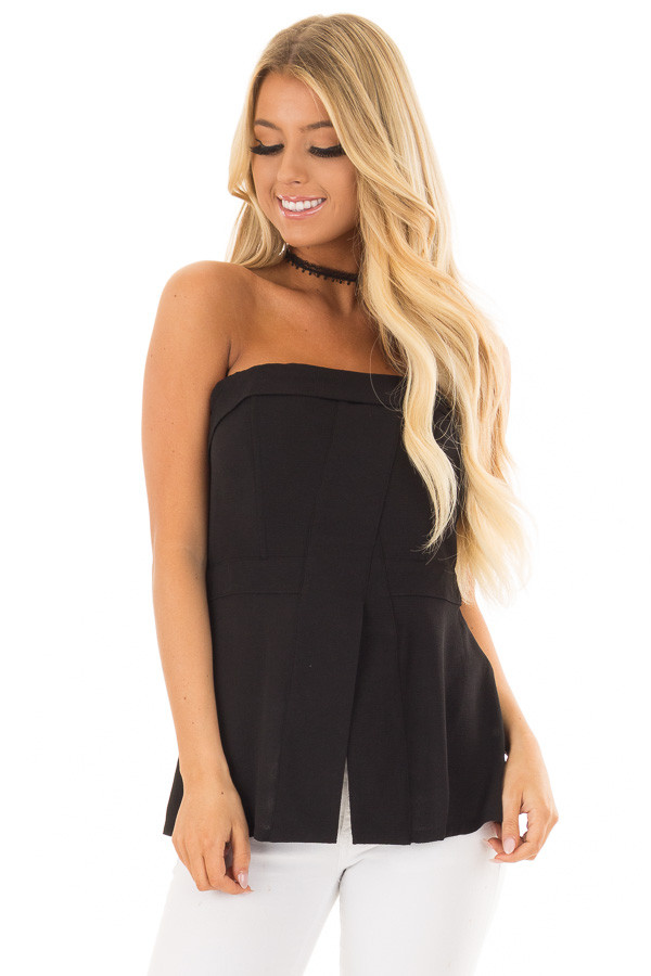 Black Fitted Tube Top with Fold Over Neckline front closeup