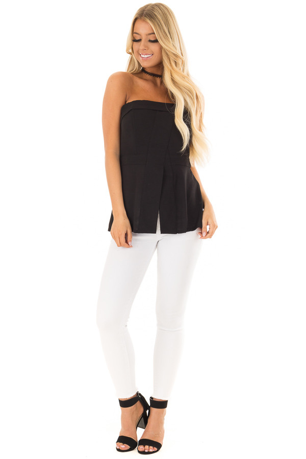 Black Fitted Tube Top with Fold Over Neckline front full body