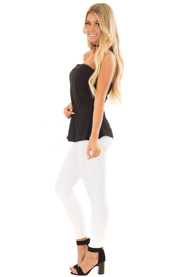 Black Fitted Tube Top with Fold Over Neckline side full body