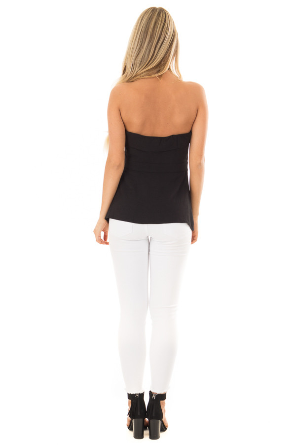 Black Fitted Tube Top with Fold Over Neckline back full body