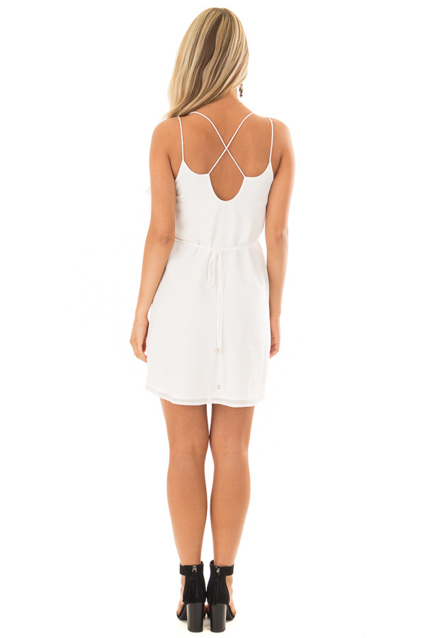 Off White Dress with Strappy Back and Waist Tie back full body