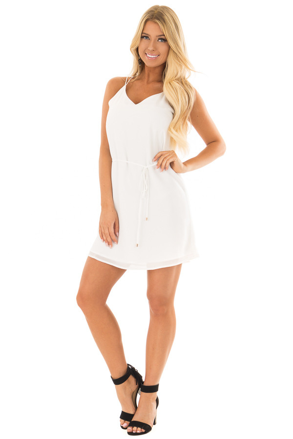 Off White Dress with Strappy Back and Waist Tie front full body