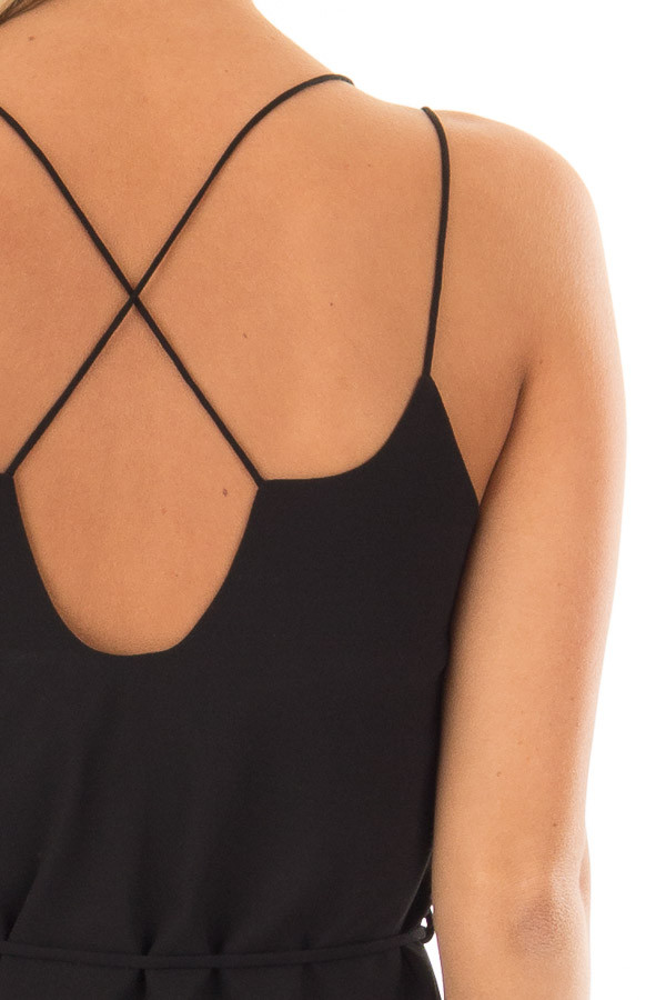 Black Dress with Strappy Back and Waist Tie back detail