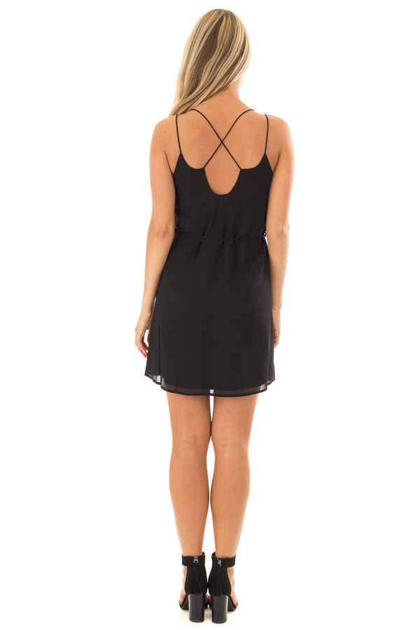 Black Dress with Strappy Back and Waist Tie back full body