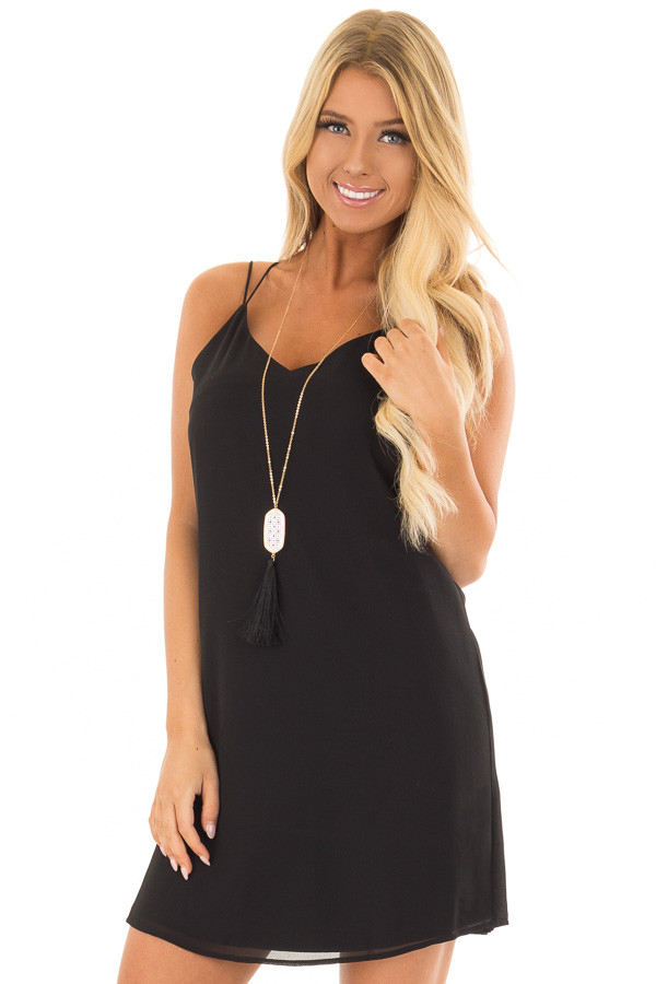 Black Dress with Strappy Back and Waist Tie front closeup