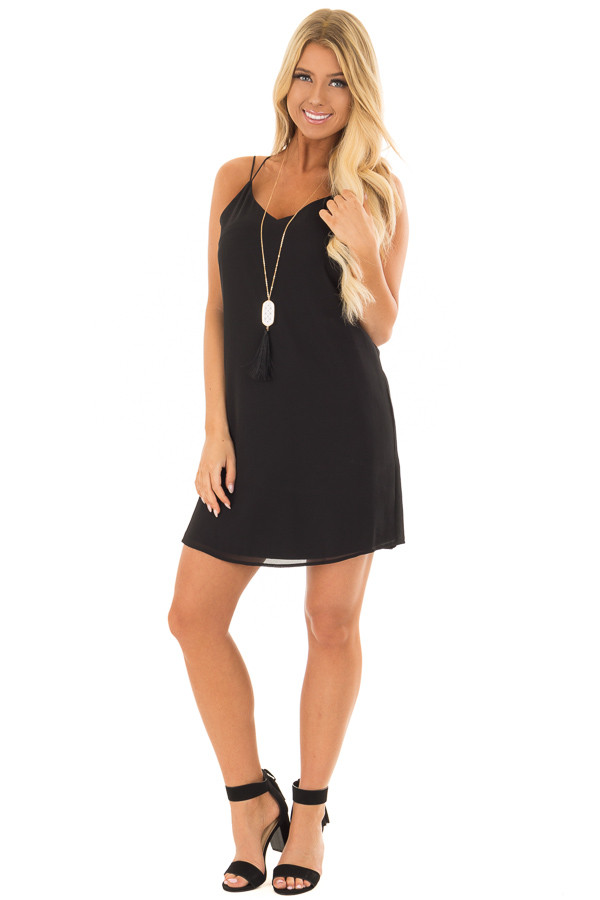 Black Dress with Strappy Back and Waist Tie front full body